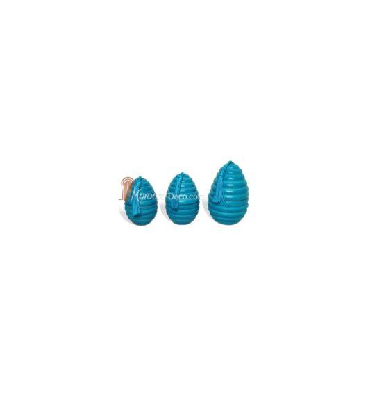 Bougies parfumés oeufs rainures en tadelakt turquoise