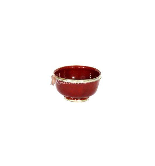 Bol artisanal rouge cerclé de métal inoxydable et émaillé a la main