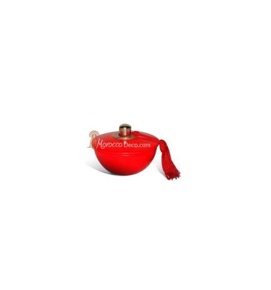 Boite demi boule rouge en tadelakt et métal argenté
