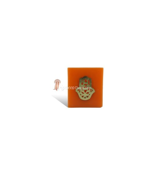 Photophore cube orange main fatima en dorée