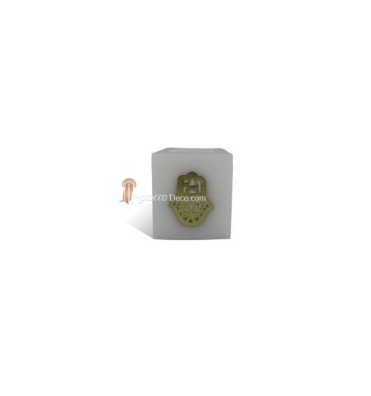 Photophore cube blanc main fatima en dorée