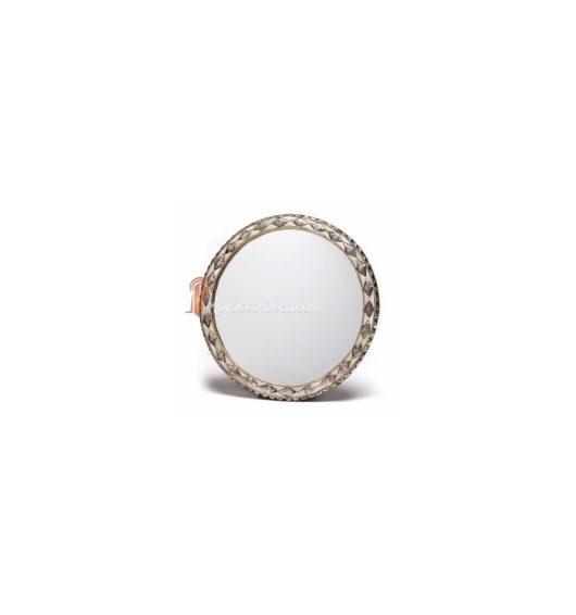 Grand miroir rond orné et décoré couleur ivoire, miroir fait main