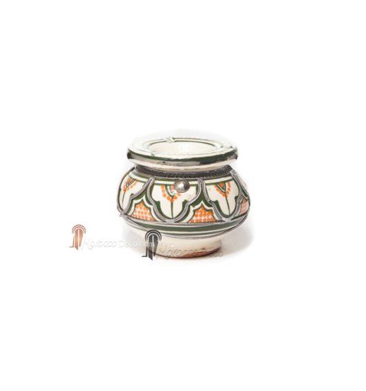 Cendrier marocain fait main orange et vert, cerclé de métal poli et torsadé